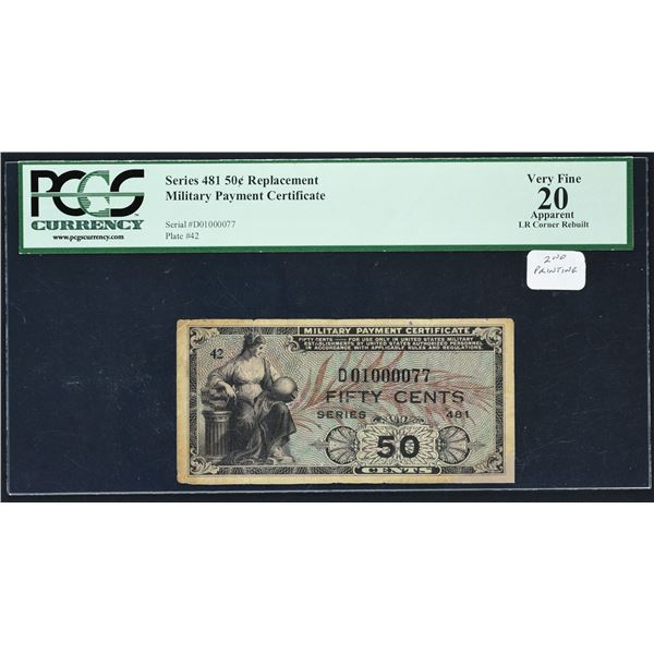 Series 481  50¢  Second Printing Replacement  PCGS Very Fine 20 Apparent LR Corner Rebuilt