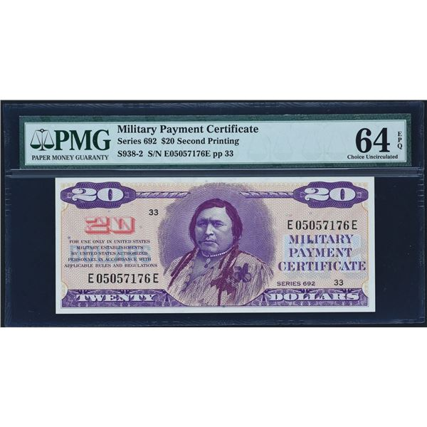 Series 692  $20  Second Printing PMG Choice Uncirculated 64 EPQ