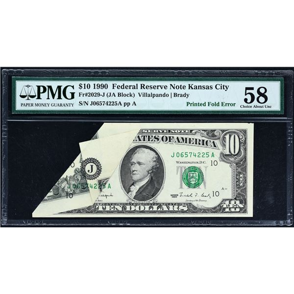 Fr. 2029-J  $10  1990  Federal Reserve Note  PMG Choice About Uncirculated 58 minor ink