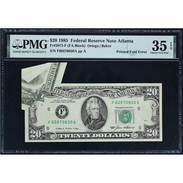 Fr. 2075-F  $20  1985  Federal Reserve Note  PMG Choice Very Fine 35 EPQ