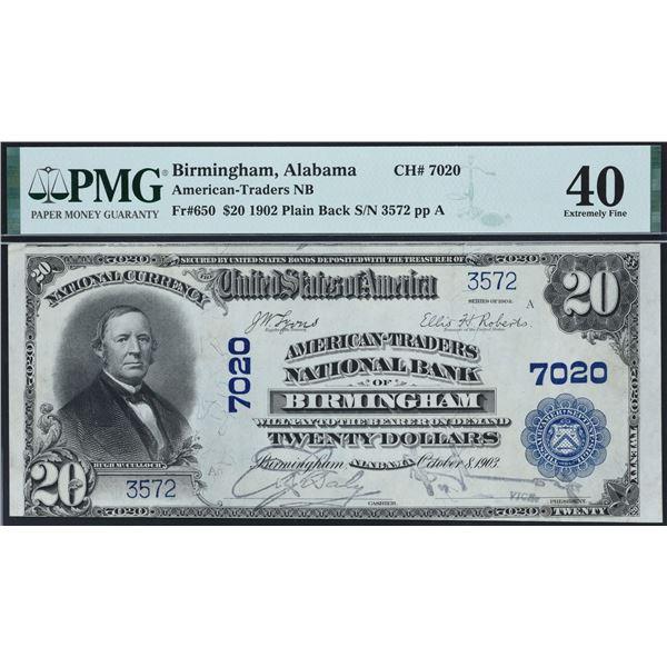 Birmingham, Alabama  -  $20  1902  Plain Back  Fr. 650  American-Traders National Bank of Birmingham