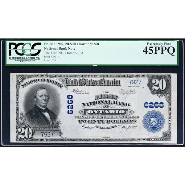 Ontario, California  -  $20  1902 Plain Back  Fr. 661  The First National Bank  Ch. # 6268  PCGS Ext