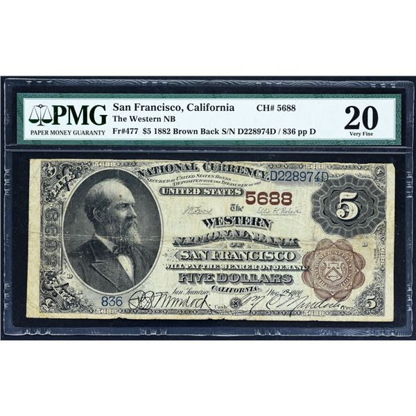 San Francisco, California  -  $5  1882 Brown Back  Fr. 477  The Western National Bank  Ch. # 5688.