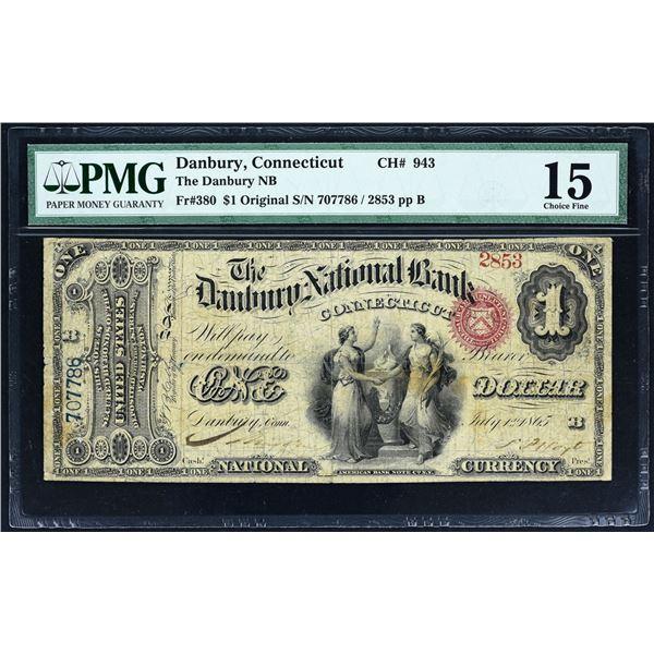 Danbury, Connecticut  -  $1 Original Series  Fr. 380  The Danbury National Bank  Ch. # 943  PMG Fine