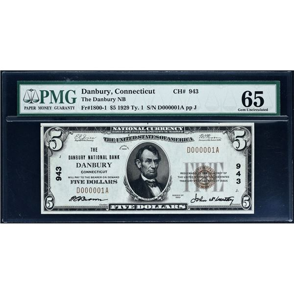 Danbury, Connecticut - $5  1929 Type 1  Fr. 1800-1  The Danbury National Bank  Ch. # 943  PMG Gem 65