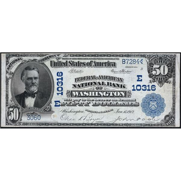 Washington, District of Columbia  -  $50  1902  Plain Back  Fr. 679a  Federal - American National Ba