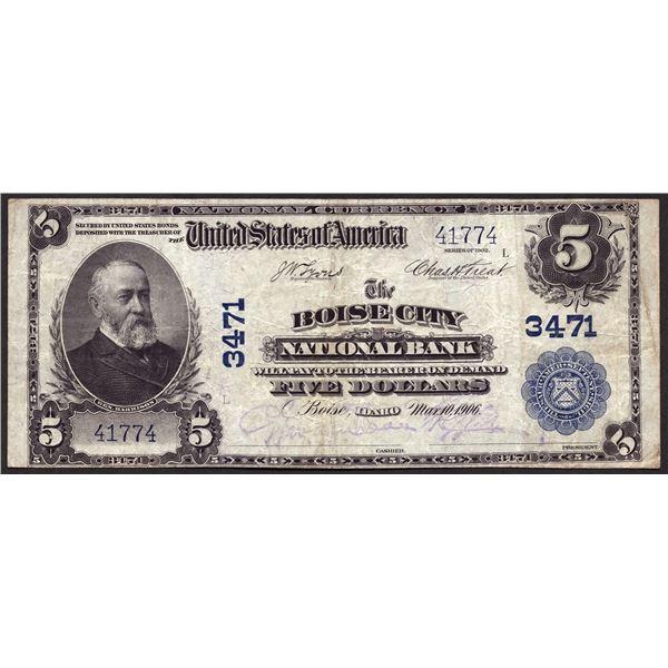 Boise City, Idaho  -  $5 1902 Plain Back  Fr. 599  The Boise City National Bank  Ch. # 3471  Very Fi