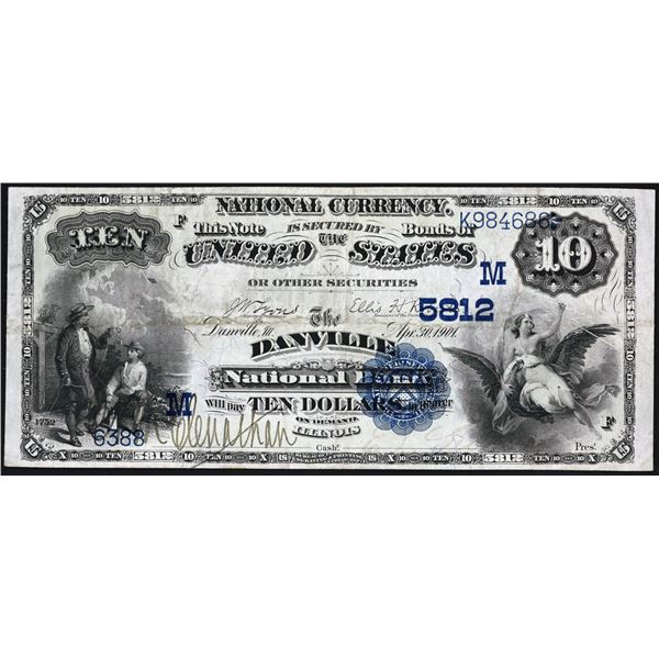 Danville, Illinois  -  $10  1882  Date Back  Fr. 545  The Danville National Bank  Ch. # 5812  Very F