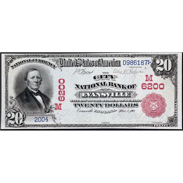 Evansville, Indiana  -  $20  1902  Red Seal  Fr. 639  The City National Bank of Evansville  Ch. # 62