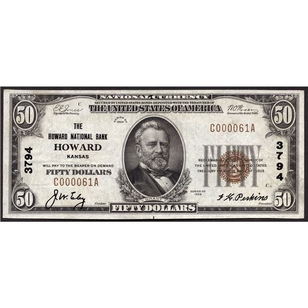 Howard, Kansas  -  $50  1929 Type 1  Fr. 1803-1  The Howard National Bank  Ch. # 3794  Choice Very F