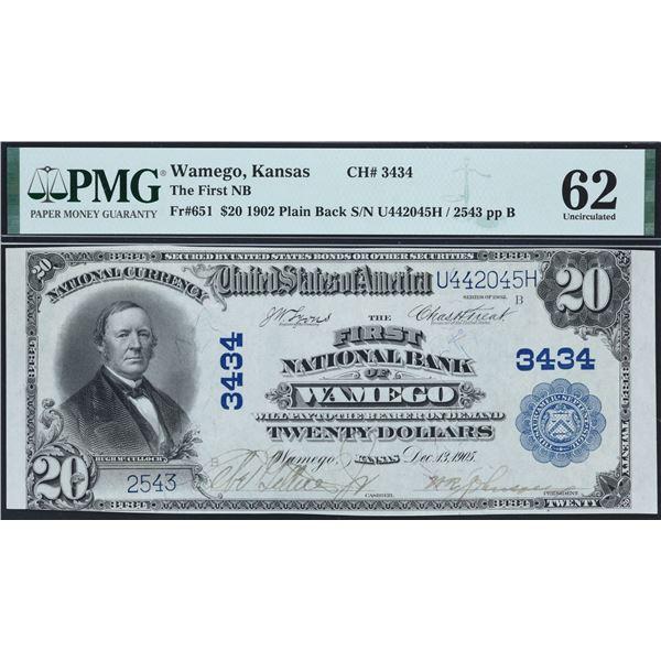 Wamego, Kansas  -  $20  1902  Plain Back  Fr. 651  The First National Bank of Wamego  Ch. # 3434  PM