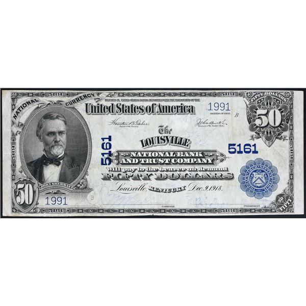 Louisville, Kentucky  -  $50  1902 Plain Back  Fr. 682  The Louisville National Bank  Ch. # 5161  Ve