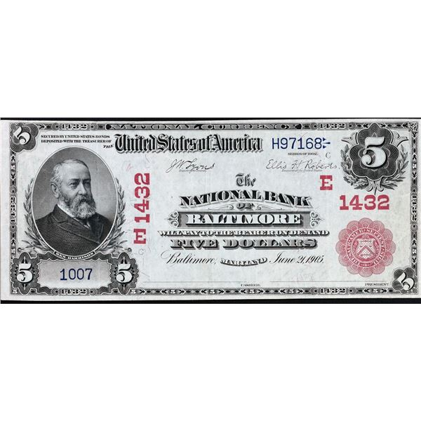 Baltimore, Maryland  -  $5 1902 Red Seal  Fr. 587  The National Bank of Baltimore  Ch. # 1432 Very F