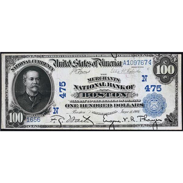 Boston, Massachusetts  -  $100  1902  Date Back  Fr. 689  The Merchants National Bank  Ch. # 475  Ve