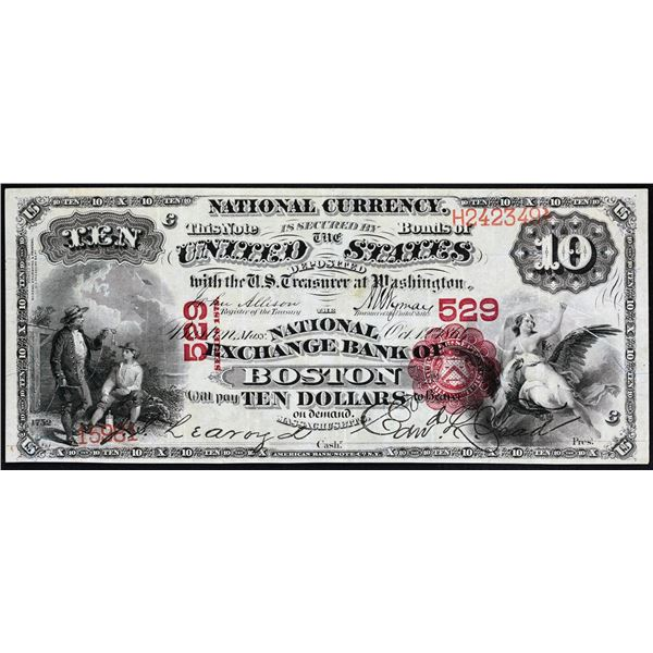 Boston, Massachusetts  -  $10  1875  Fr. 417  The National Exchange Bank  Ch. # 529  Very Fine with