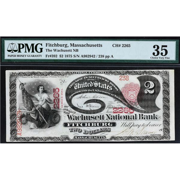 Fitchburg, Massachusetts  -  $2  1875  Fr. 392  The Wachusett National Bank of Fitchburg  Ch. # 2265