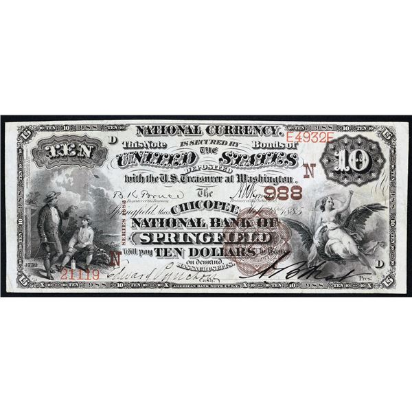 Springfield, Massachusetts  -  $10  1882  Brown Back  Fr. 480  The Chicopee National Bank of Springf