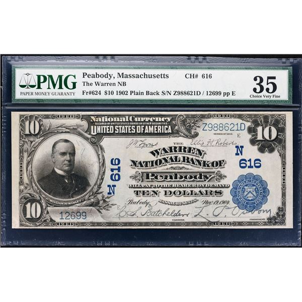 Peabody, Massachusetts  -  $10  1902 Plain Back  Fr. 624  The Warren National Bank  Ch. # 616  PMG C