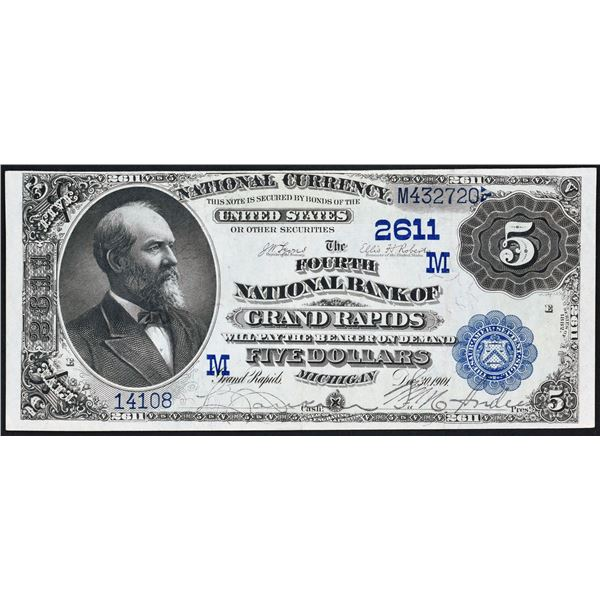 Grand Rapids, Michigan  -  $5  1882  Date Back  Fr. 574  The Fourth National Bank of Grand Rapids  C