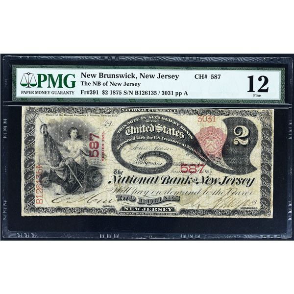 New Brunswick, New Jersey  -  $2  1875  Fr. 391  The National Bank of New Jersey  Ch. # 587  PMG Fin