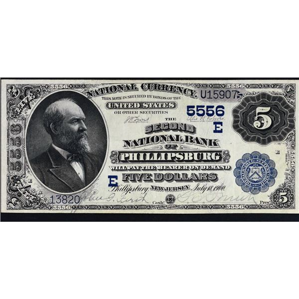 Phillipsburg, New Jersey  -  $5 1882 Value Back  Fr. 574  The Second National Bank of Phillipsburg