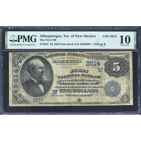 Albuquerque, New Mexico (Territory of)  -  $5  1882 Date Back  Fr. 537  The First National Bank of A