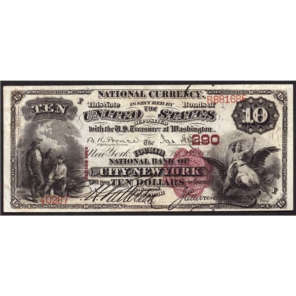New York, New York  -  $10 1882 Brown Back  Fr. 479  The Fourth National Bank of the City of New Yor