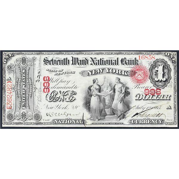 New York, New York  -  $1  Original Series  Fr. 380b  The Seventh Ward National Bank of New York  Ch