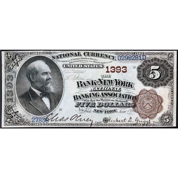 New York, New York  -  $5  1882  Brown Back  Fr. 469  The Bank of New York National Banking Associat
