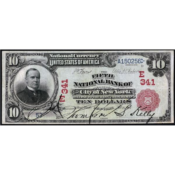 New York, New York  -  $10  1902  Red Seal  Fr. 613  The Fifth National Bank  Ch. # 341  Very Fine w