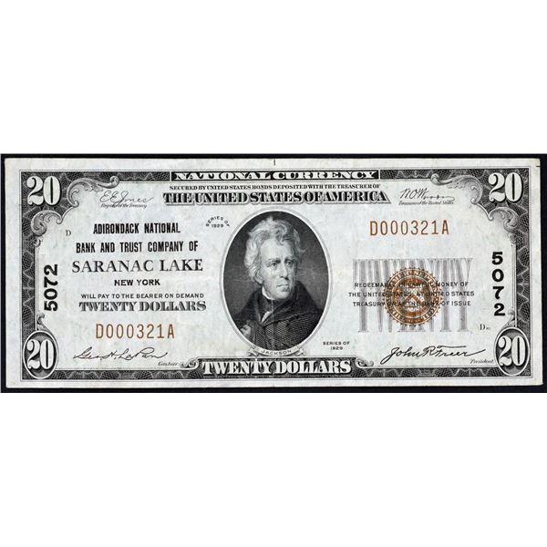 Saranac Lake, New York  -    $20  1929 Type 1  Fr. 1802-1  Adirondack National Bank and Trust Compan