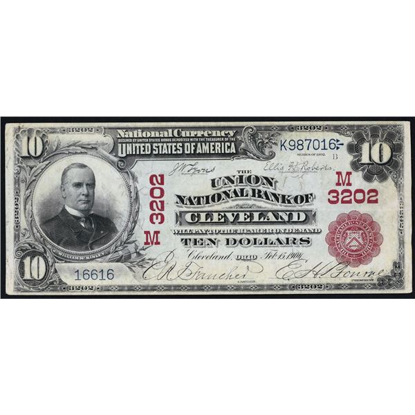 Cleveland, Ohio  -  $10  1902  Red Seal  Fr. 613  The Union National Bank of Cleveland  Ch. # 3202