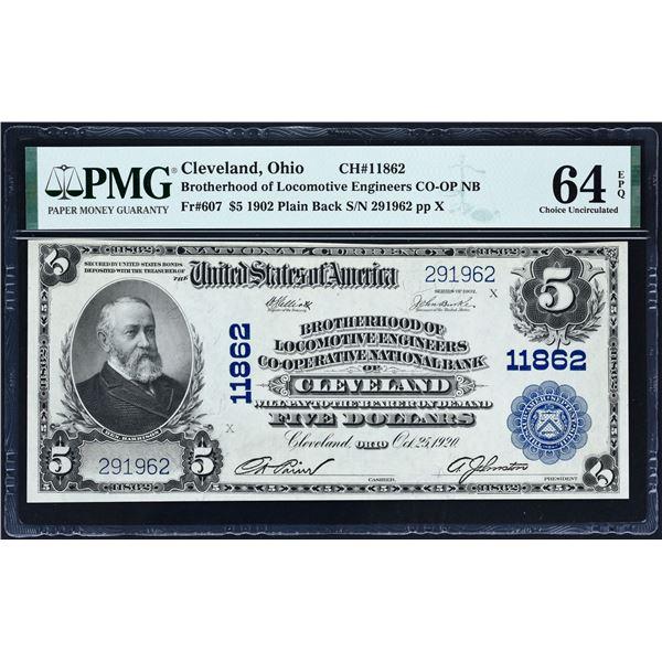 Cleveland, Ohio  -  $5  1902 Plain Back  Fr. 607  Brotherhood of Locomotive Engineers Co-Operative N