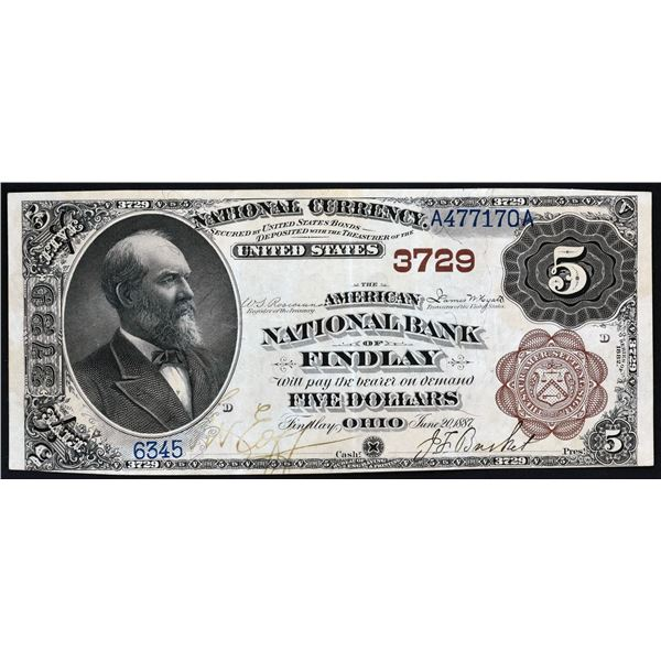 Findlay, Ohio  -  $5  1882  Brown Back  Fr. 470  The American National Bank of Findlay  Ch. # 3729