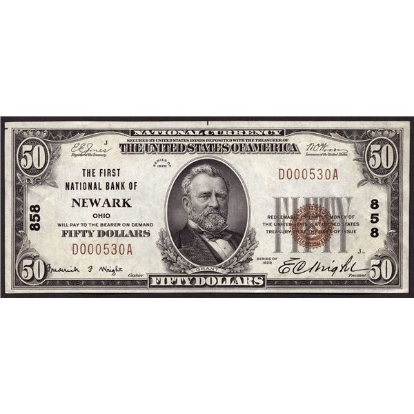 Newark, Ohio  -  $50  1929 Type 1  Fr. 1803-1  The First National Bank of Newark  Ch. # 858  About U
