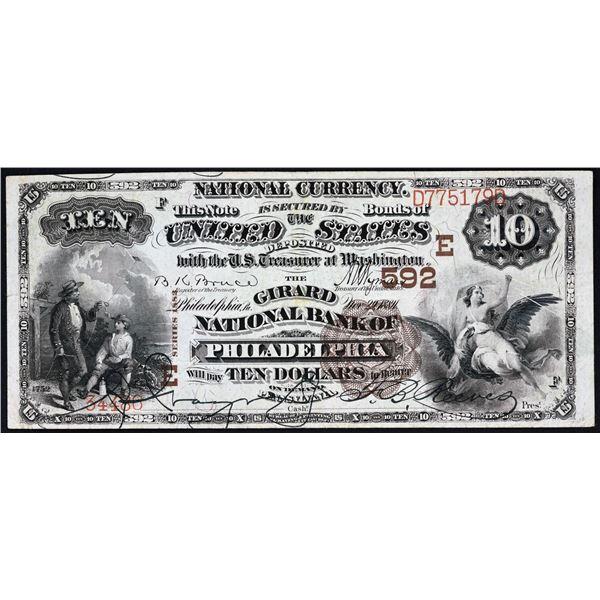 Philadelphia, Pennsylvania  -  $10  1882 Brown Back  Fr. 480  The Girard National Bank of Philadelph