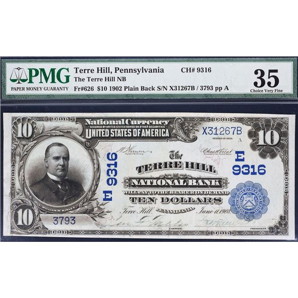 Terre Hill, Pennsylvania  -  $10  1902 Plain Back  Fr. 626  The Terre Hill National Bank  Ch. # 9316