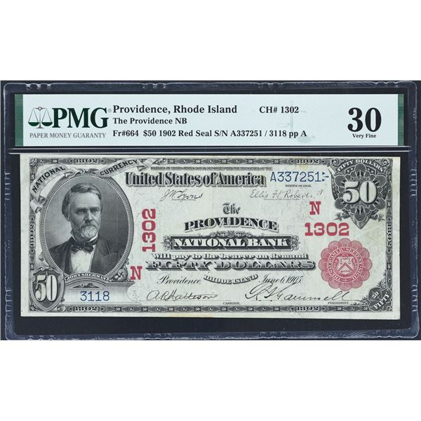 Providence, Rhode Island  -  $50  1902 Red Seal  Fr. 664  The Providence National Bank  Ch. 1302  PM