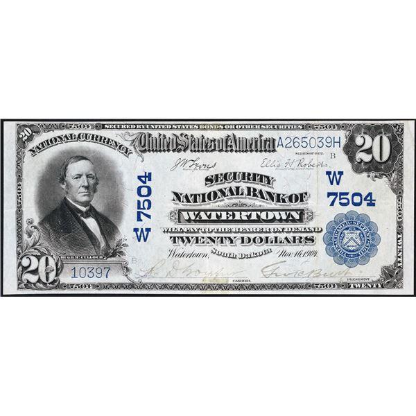 Watertown, South Dakota  -  $20  1902 Plain Back  Fr. 650  Security National Bank of Watertown  Ch.