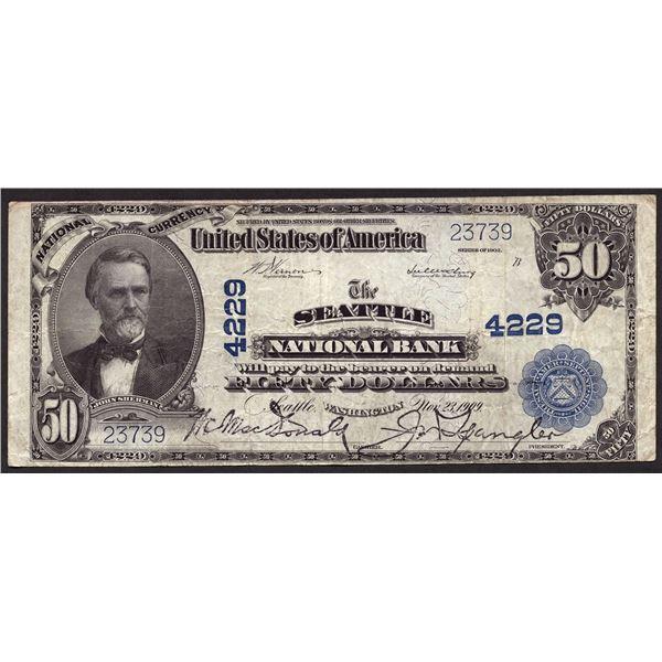 Seattle, Washington  -  $50 1902 Plain Back  Fr. 678  The Seattle National Bank  Ch. # 4229  Very Fi
