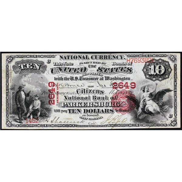 Parkersburg, West Virginia  -  $10  1875  Fr. 420  The Citizens National Bank of Parkersburg  Ch. #
