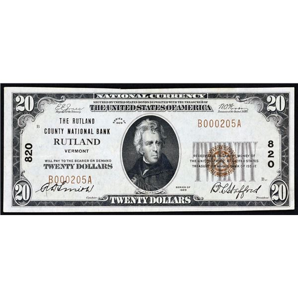 Rutland, Vermont  -  $20  1929 Type 1  Fr. 1802-1  The Rutland County National Bank  Ch. # 820  Choi