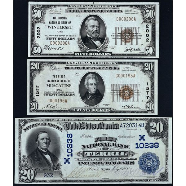 Lot of (3).  National Bank Notes