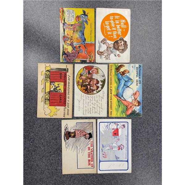 A variety of postcards featuring hobos, some have postmarks as early as 1909! (Total 26 postcards)