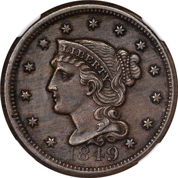 1849 Large Cent. Newcomb-5. Rarity-3. AU-58 NGC