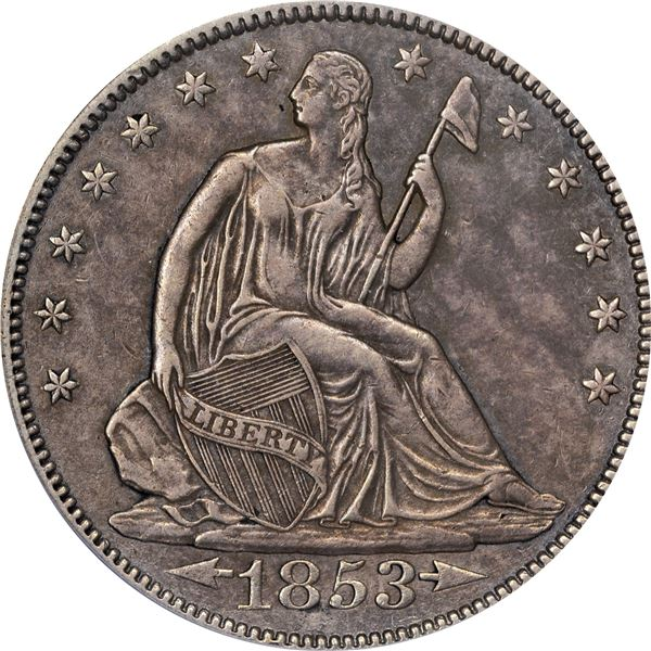 1853 Arrows and Rays 50¢. PCGS Genuine – Cleaned. Our sharpness grade is EF-45