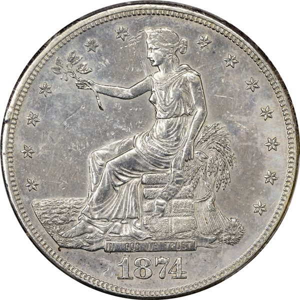 1874-S Trade $1. PCGS AU Details – Genuine -- Tooled
