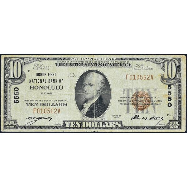 Honolulu, Hawaii  -  $10  1929 Type 1  Fr. 1801-1  Bishop First National Bank of Honolulu  Ch. # 555