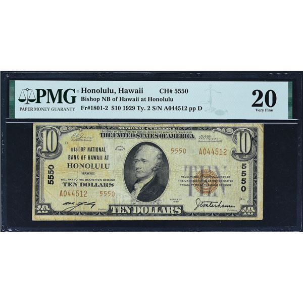Honolulu, Hawaii  -  $20  1929 Type 2  Fr. 1801-1  Bishop First National Bank of Honolulu  Ch. # 555
