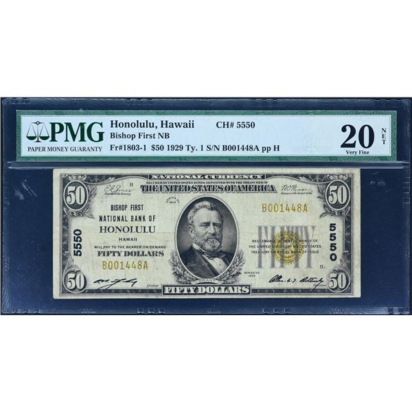 Honolulu, Hawaii  -  $50  1929 Type 1  Fr. 1803-1  Bishop First National Bank of Honolulu  Ch. # 555